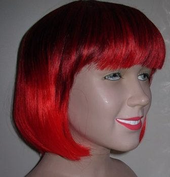 Red & black two tone bob wig