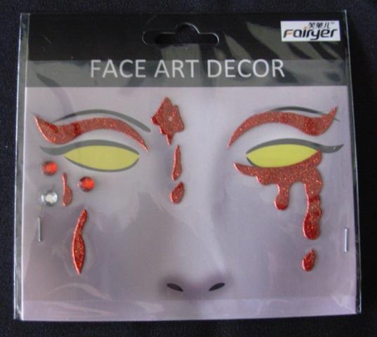 Face art - blood runs & red eyebrows