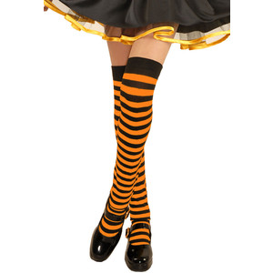 Orange & black stripe thigh highs
