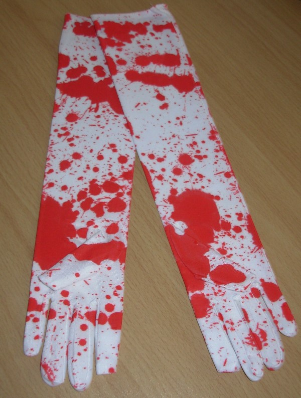 Blood spattered gloves