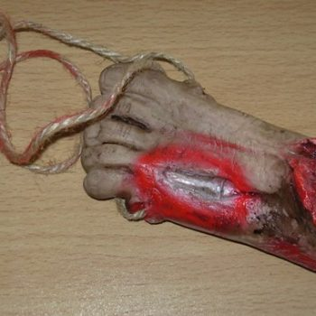 Bloody cut off foot