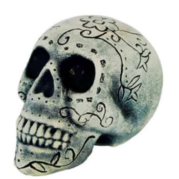 Day of the Dead skull with carvings