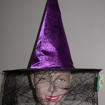 Purple witch hat with lace