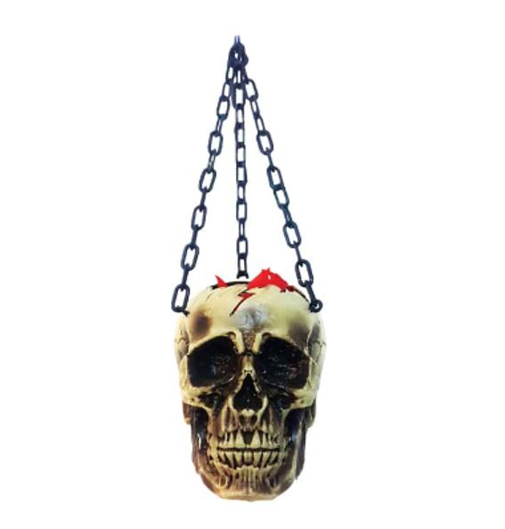 Hanging skull with animated flame