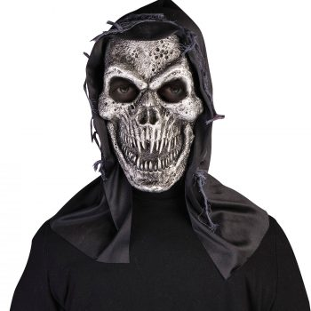 Hooded silver skull mask