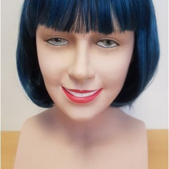 Blue black two tone bob wig