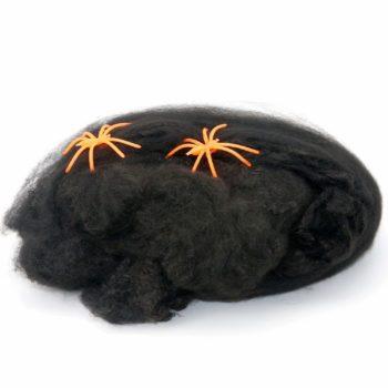 Spider webbing - black with orange spiders