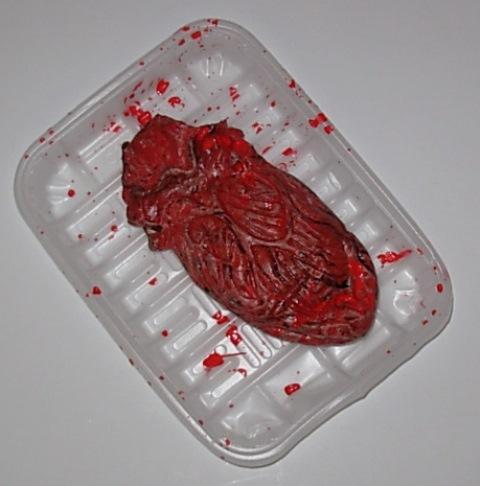 Bloody heart in tray