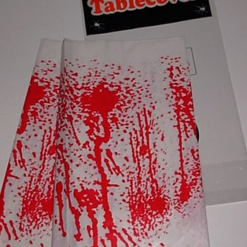 Blood spattered plastic table cloth
