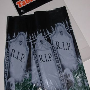 Table cloth with gravestone design