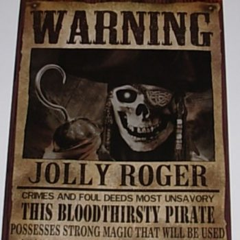 Warning poster jolly roger