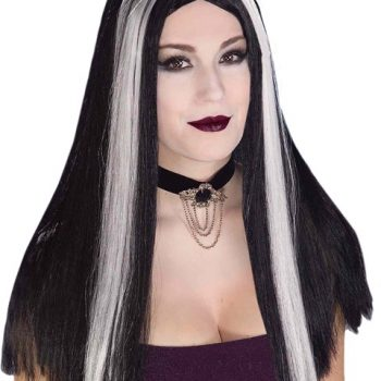 Long black wig with white streaks