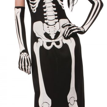 Long skeleton print dress