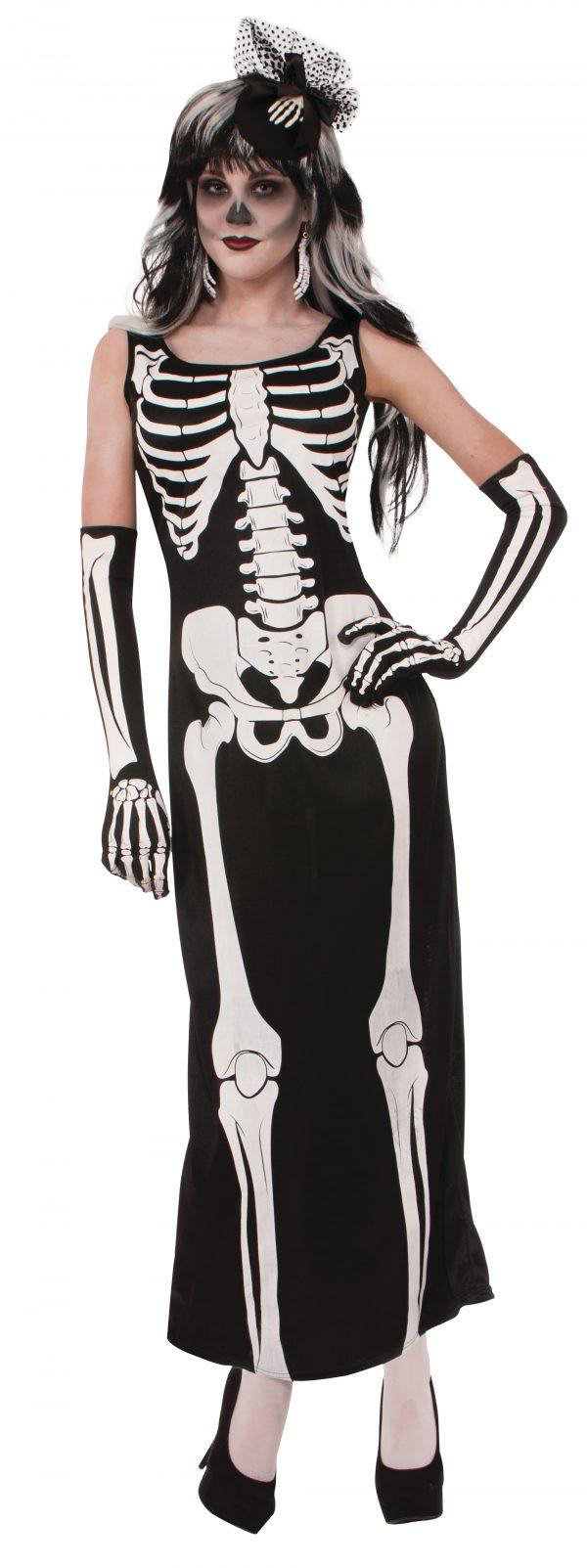 Long skeleton print dress