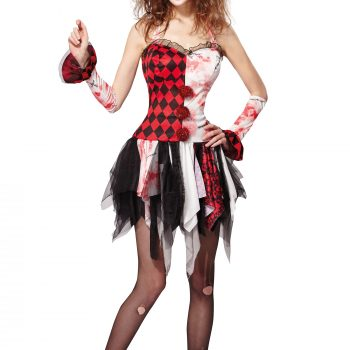 Scary jester ladies costume