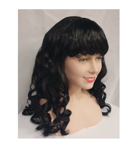 Curly black wig side view