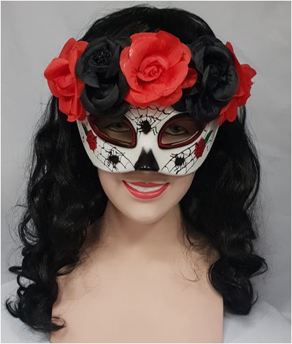 Day of the Dead mask with spiders and roses