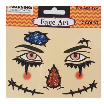 Halloween scarecrow face art