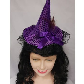 Mini purple witch hat on headband