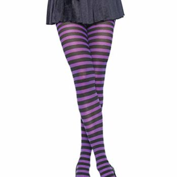 Purple & black stripe pantyhose