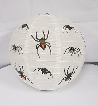 White paper lantern with spider design.