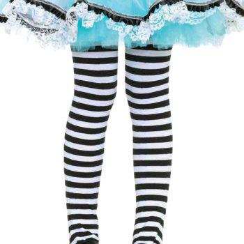 Girls black & white stripe stockings