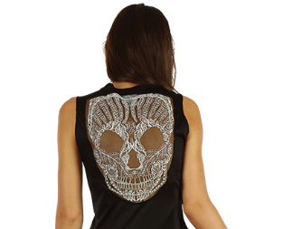 Skeleton dress with lace skull