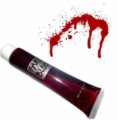 Fake blood in a tube