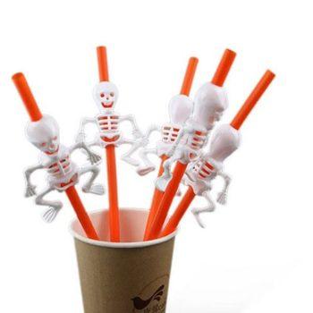 Orange skeleton straws