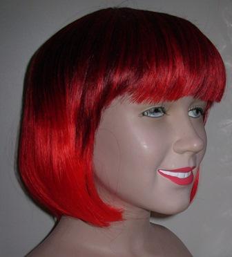 Red & black two tone bob wig