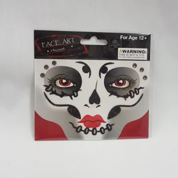 Face art - black glitter & diamante's