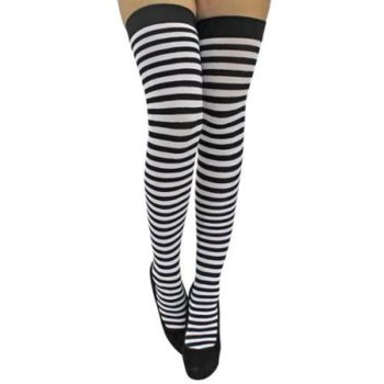 Black & white stripe over the knee stockings