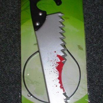 Bloody saw through head