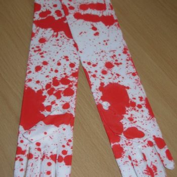 Blood spattered gloves