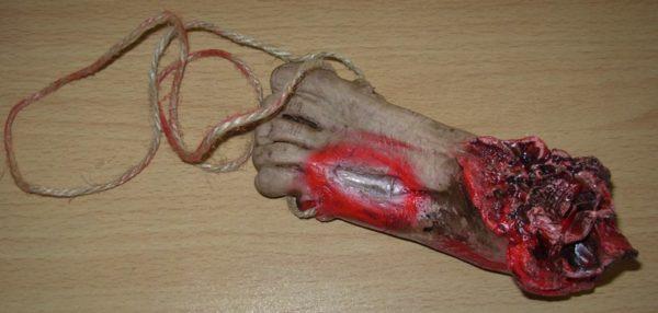 Bloody cut off foot