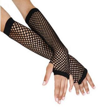 Black fingerless gloves - mesh