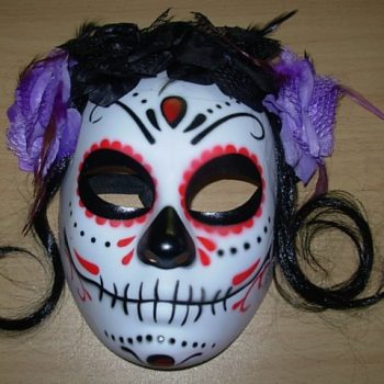 Day of the Dead mask with hair