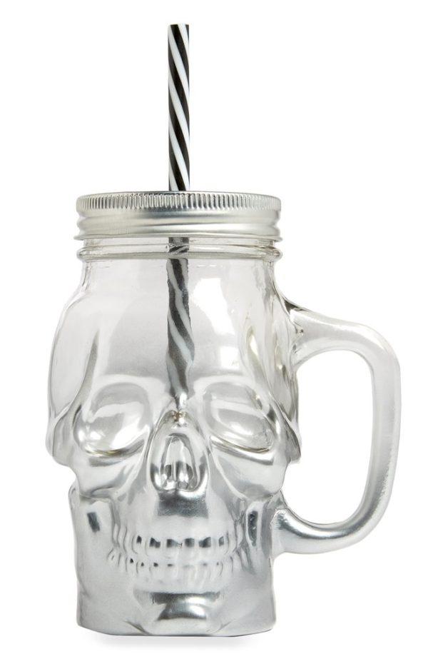 Clear skull mason jar