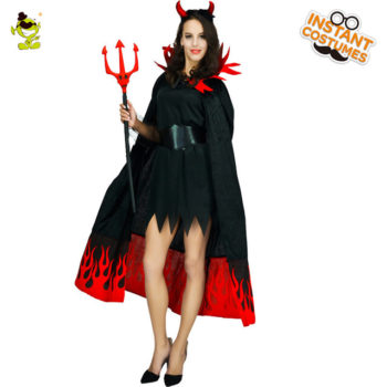 Flames devil costume cape set