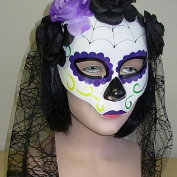 Day of the Dead mask with purple flowers