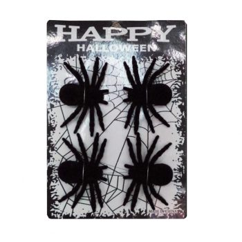 Pack of 4 flocked spiders