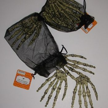 Skeleton hands in a bag