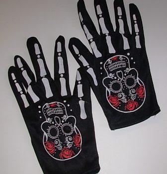 Day of the Dead short black gloves