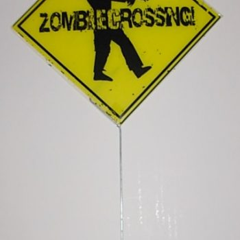 Zombie crossing yard sign