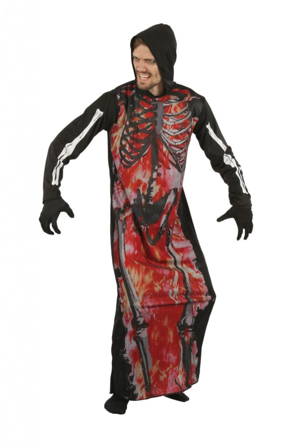 Skeleton on fire robe