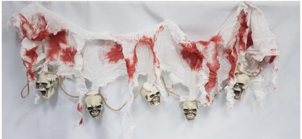 Skull & creepy cloth garland