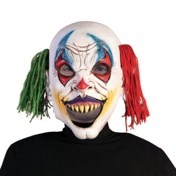 Evil clown mask with open mouth.