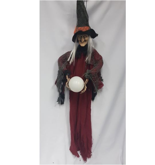 Haning Witch prop with light up globe