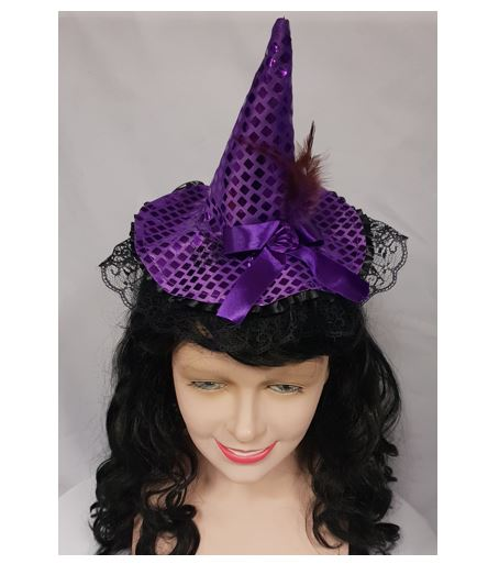 Purple Sequined Witch Hat Headband with Ribbon Feather and Black Veil
