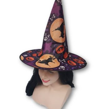Purple witch hat with pumpkins & witches